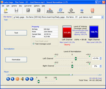 Click to view Sound Normalizer 2.97 screenshot