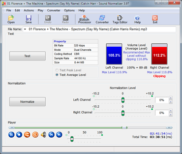 The Sound Normalizer improves a volume of Mp3, Mp4, FLAC, Ogg, APE, AAC and Wav